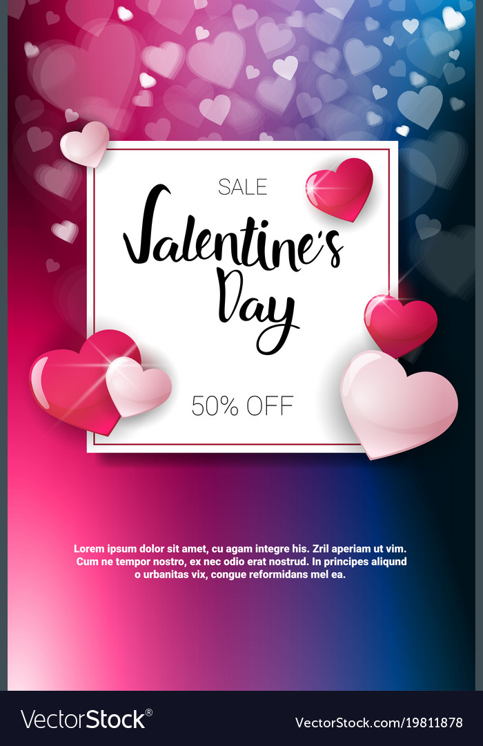 Valentine day sale poster template with copy space
