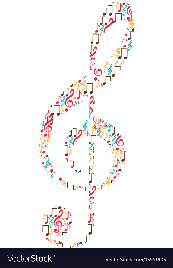 Treble clef in color silhouette formed by musical Vector Image