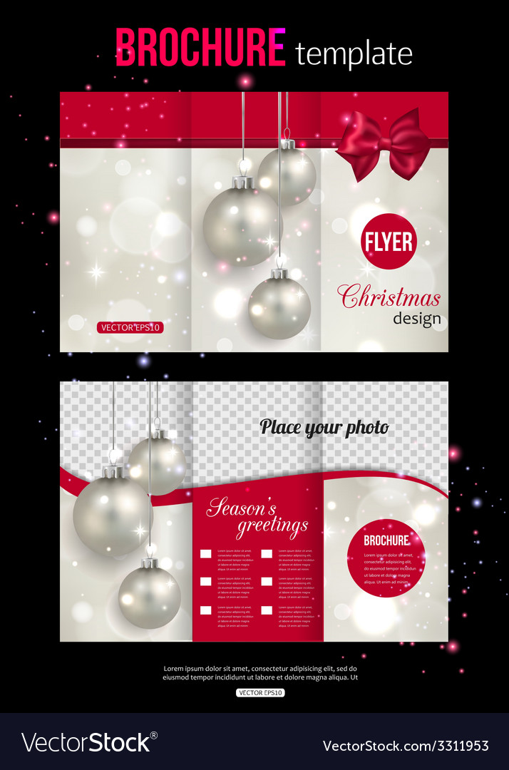Christmas trifold brochure template Abstract flyer