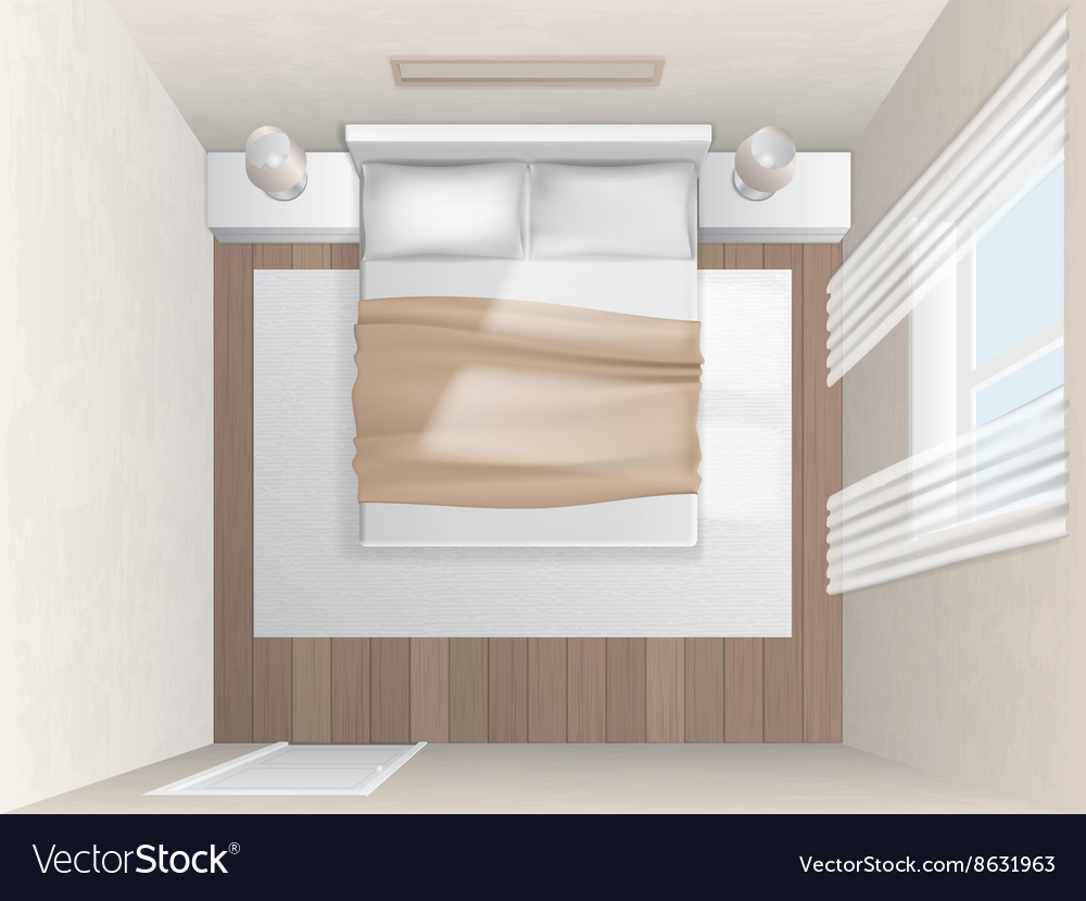 Top View Bedroom With Beige Walls Royalty Free Vector Image