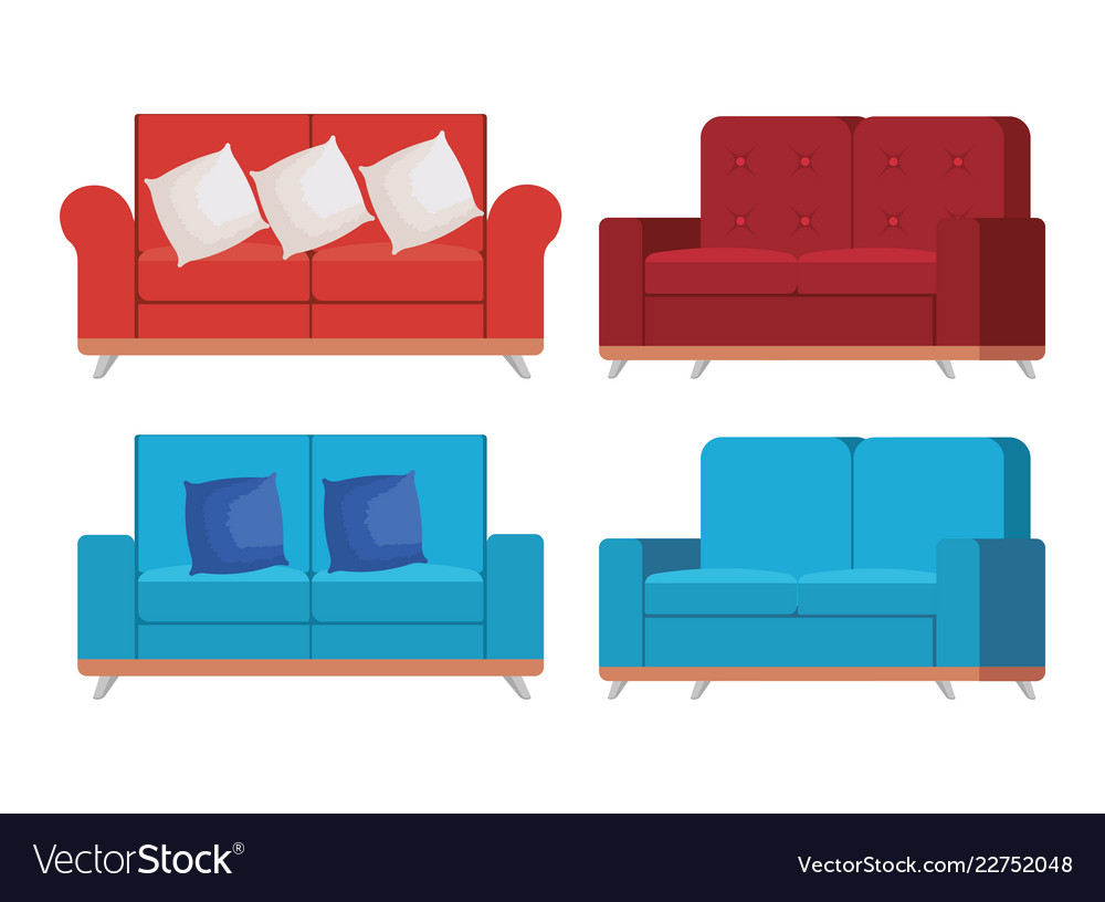 Sofa Set Vector Free Download Set Sofas Styles Icons