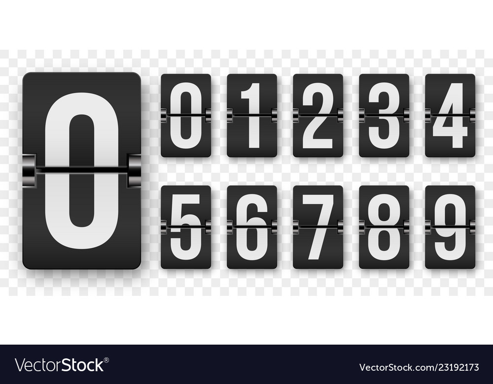 Countdown numbers flip counter isolated set retro Vector Image