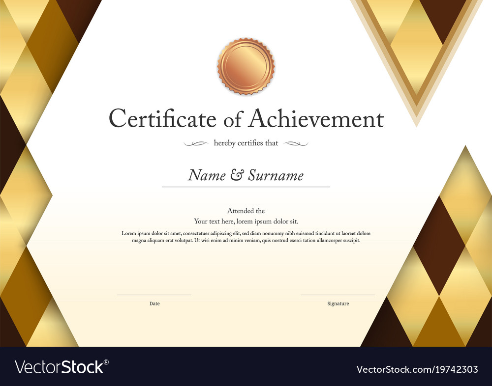 Luxury certificate template with elegant border Vector Image - certificate templat