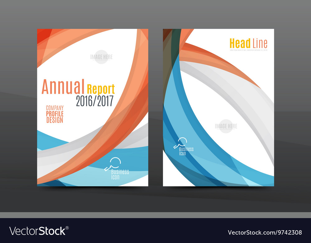 Blue wave annual report cover template Royalty Free Vector
