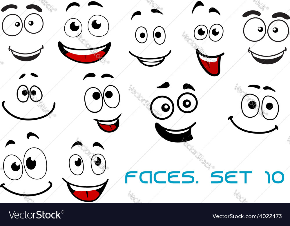 Happy emotions on cartoon faces Royalty Free Vector Image