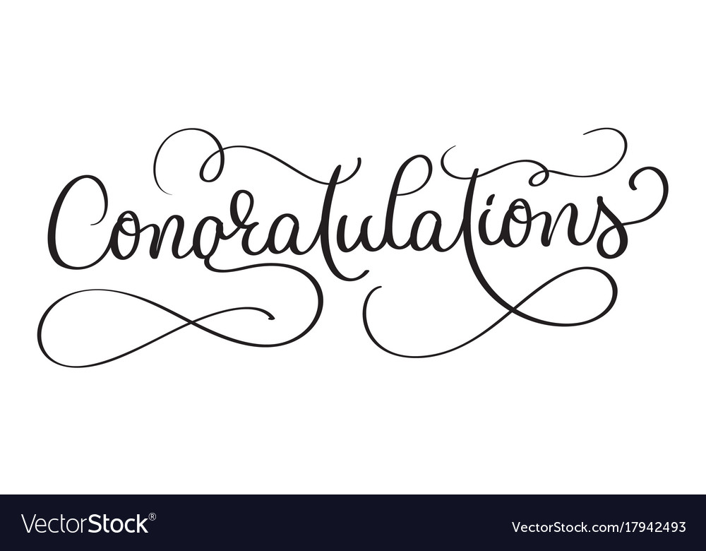 Congratulations calligraphy lettering hand Vector Image