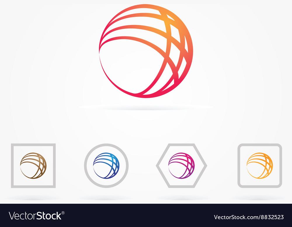Circle globe network logo Royalty Free Vector Image