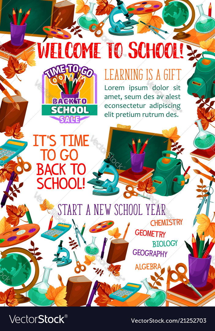 Back to school supplies sale offer banner design Vector Image