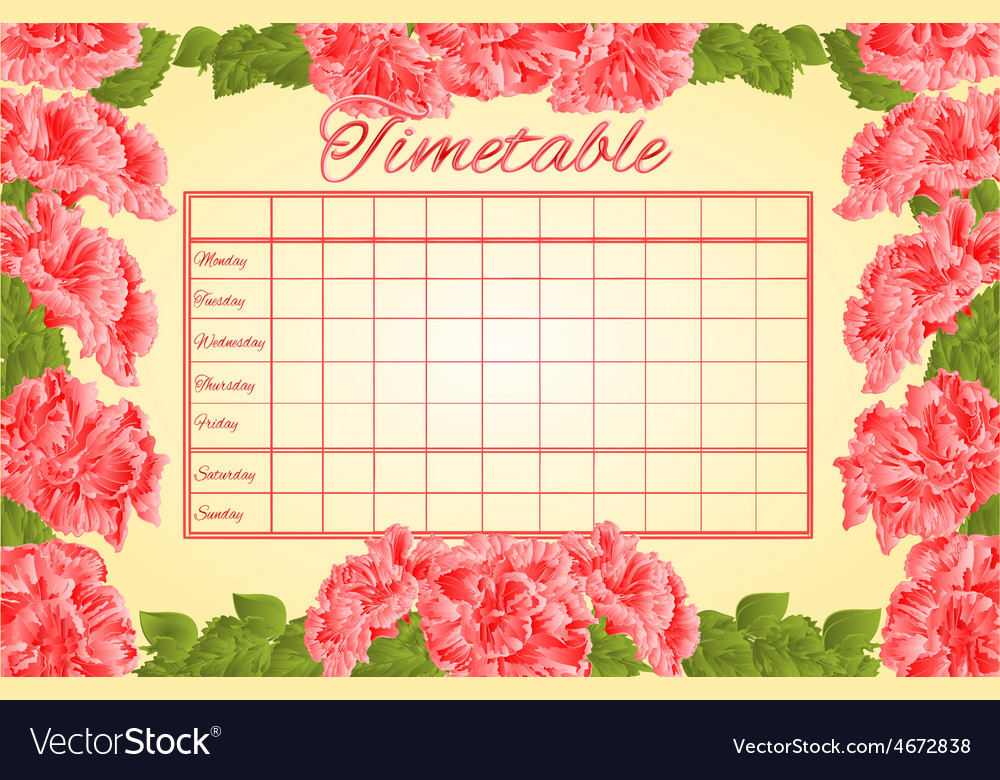 Timetable weekly schedule with pink hibiscus Vector Image