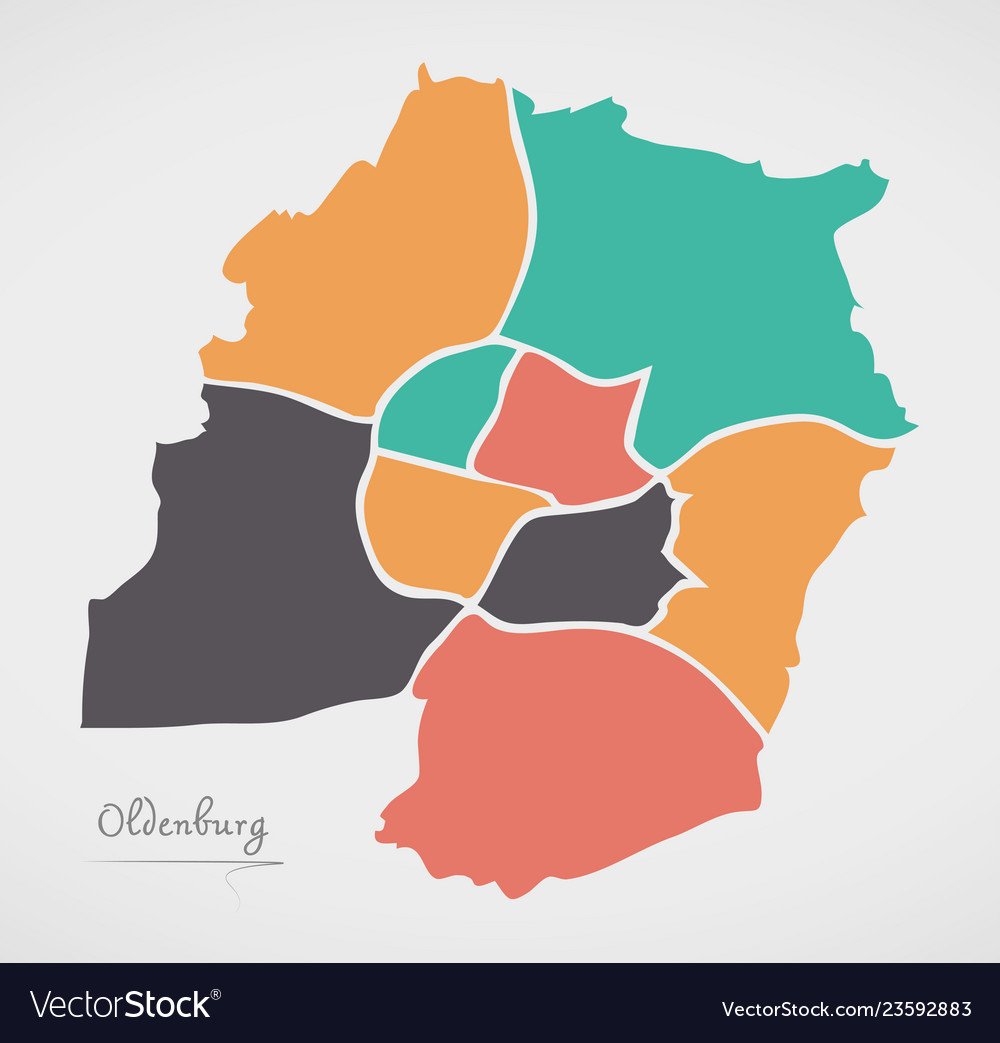 Maps Oldenburg Oldenburg Map With Boroughs And Modern Round Vector Image