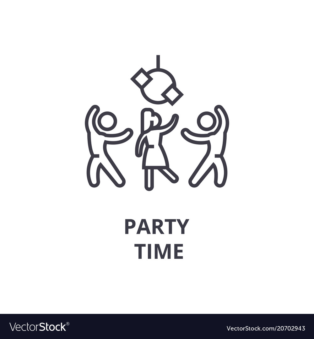 Party Time Party Time Thin Line Icon Sign Symbol