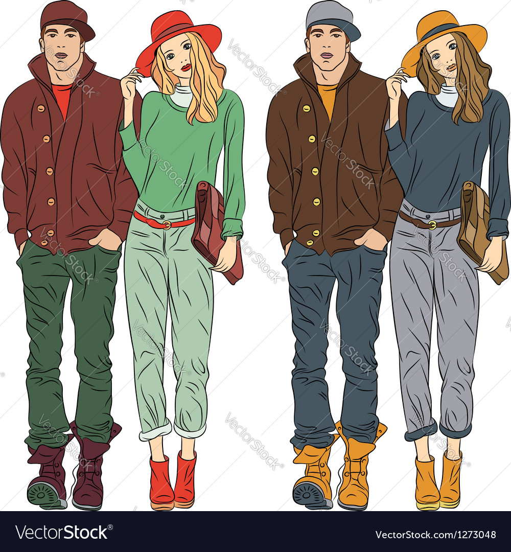 Stylish Clothes Fashion Stylish Guy And Girl In Spring Clothes Vector Image On Vectorstock