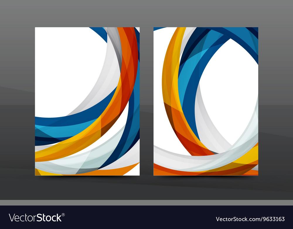Colorful swirl design annual report cover template