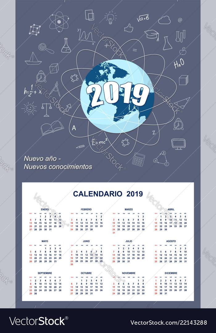 Latin-american student calendar for wall 2019 Vector Image