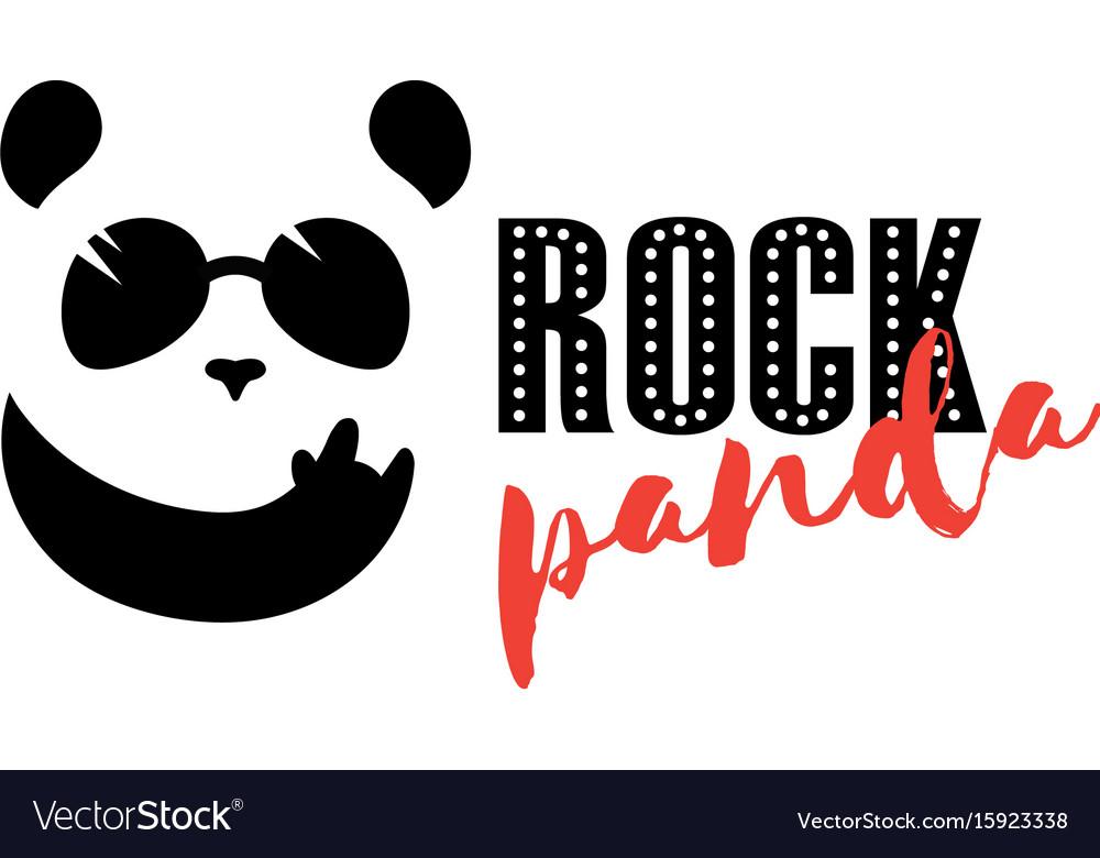 Rock panda logo funny panda mascot bar symbol Vector Image
