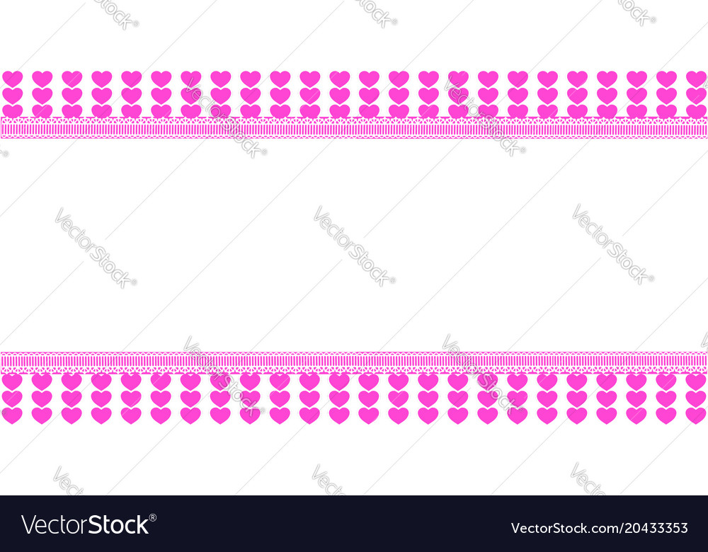 Cute horizontal template with pink lined hearts Vector Image - lined template