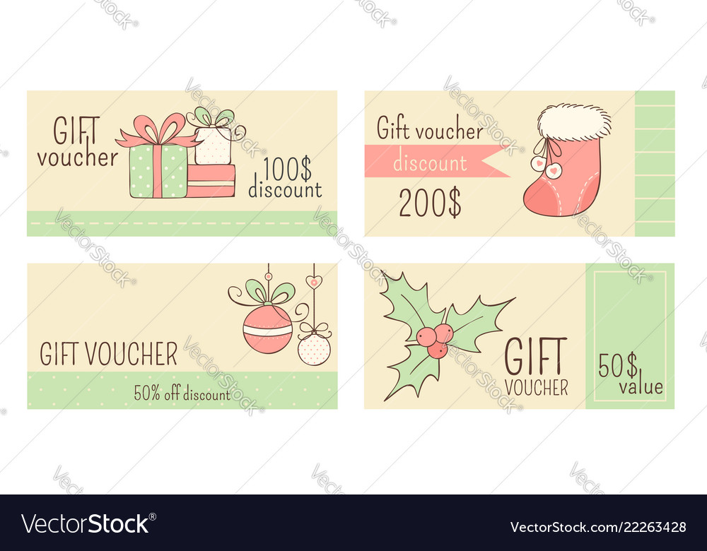 Collection of horizontal christmas gift vouchers Vector Image