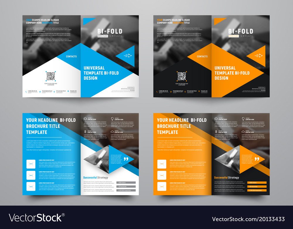 Design a bi-fold brochure with triangular colored Vector Image