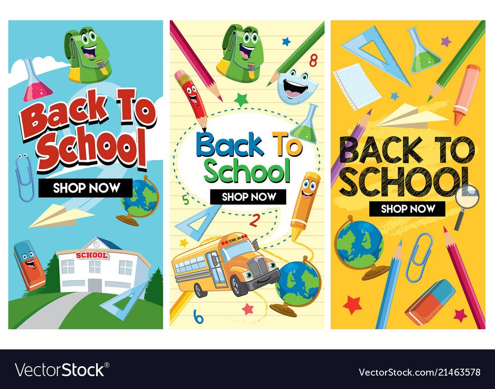 Back to school flyer design set Royalty Free Vector Image