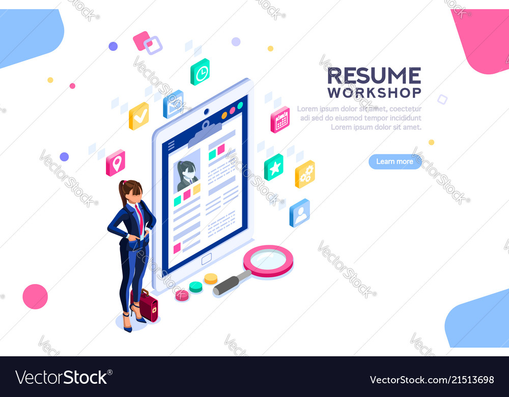 Workshop for resume writing banner Royalty Free Vector Image
