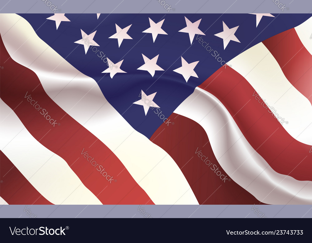 Background american flag in folds star-spangled Vector Image