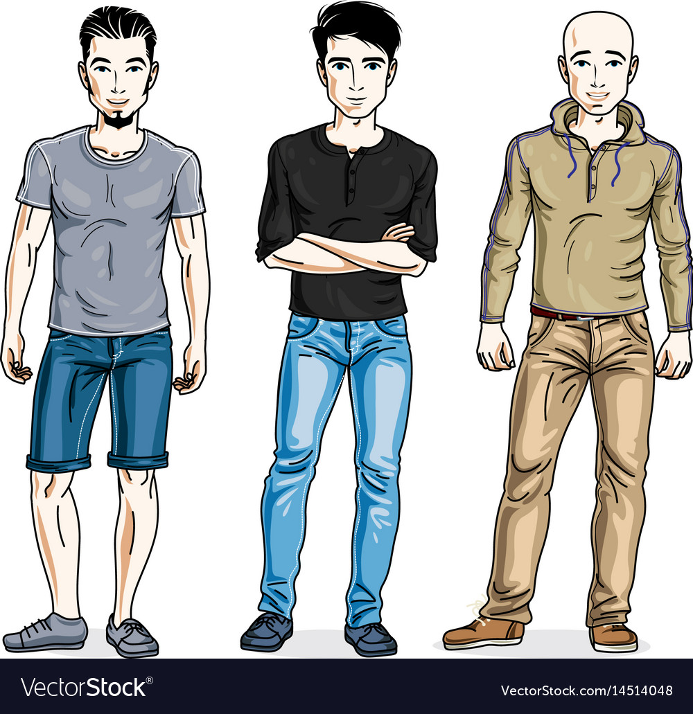 Stylish Clothes Happy Men Posing In Stylish Casual Clothes People Vector Image On Vectorstock