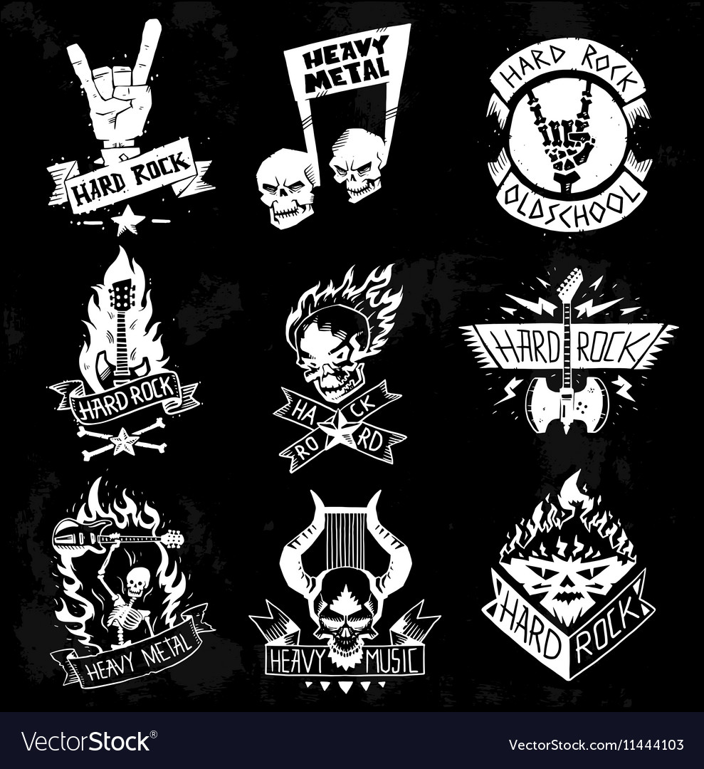On Heavy Metal Heavy Metal Rock Badges Set Vector Image On Vectorstock