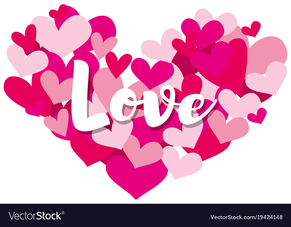 Velentine card template with word love on heart Vector Image