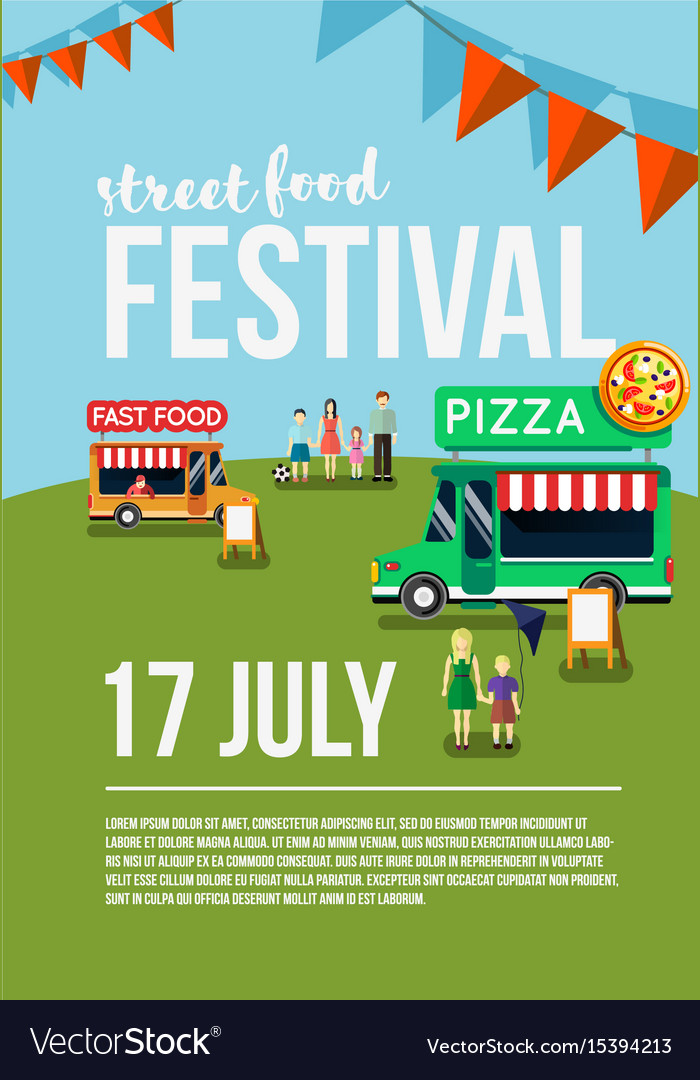 Food truck festival event flyer Royalty Free Vector Image