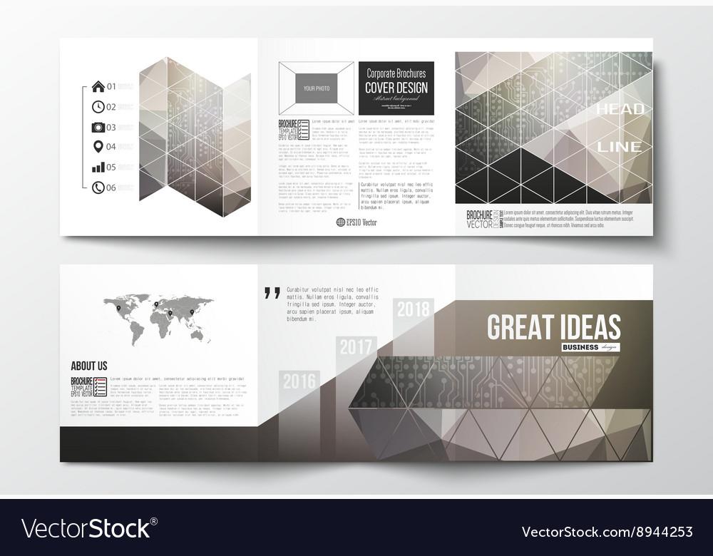 Set of tri-fold brochures square design templates Vector Image - tri brochures