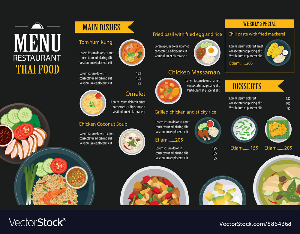 Thai food restaurant menu template flat design Vector Image - food menu template