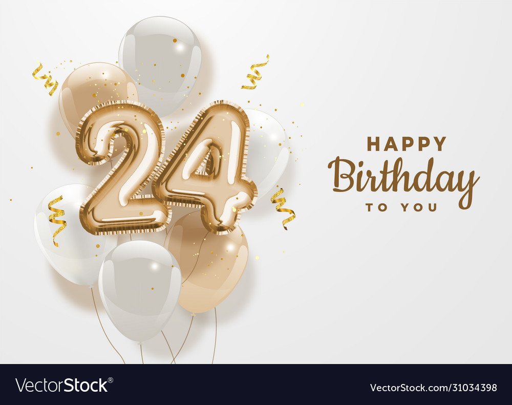 Happy 24th Birthday Gold Foil Balloon Greeting Vector Image