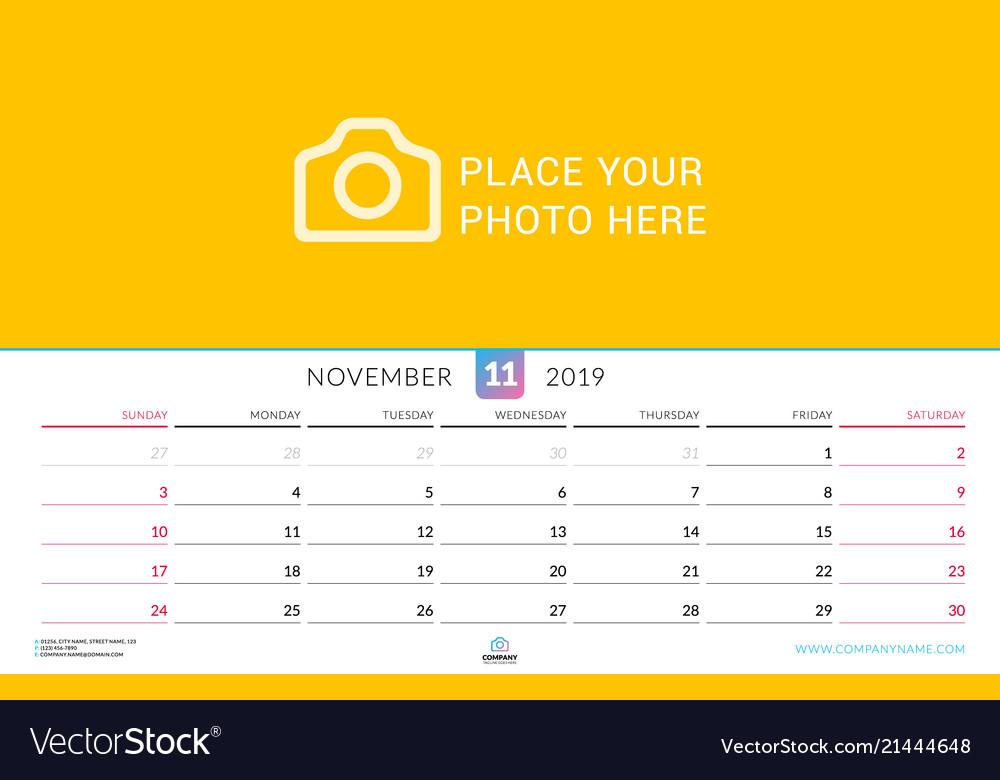 Wall calendar for november 2019 design print Vector Image
