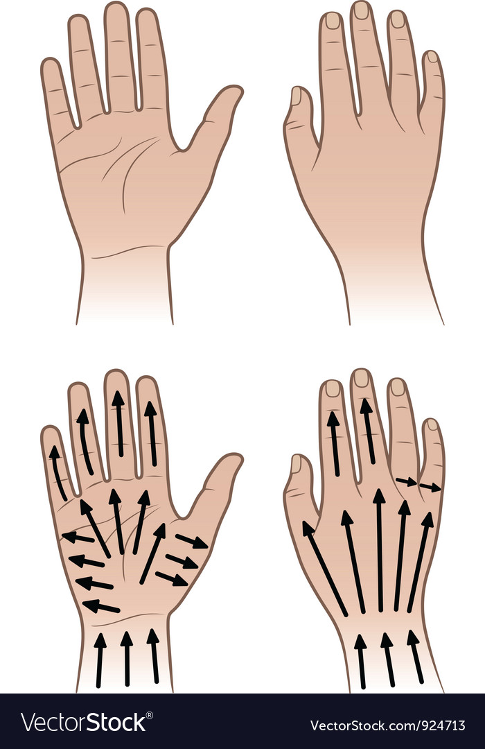 Woman man hands with massaging lines Royalty Free Vector