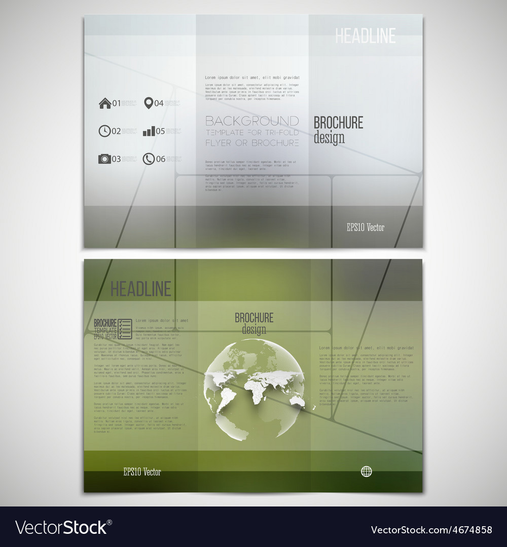Ra T Vel Set Of Tri Fold Brochure Design Template On Vector Image On Vectorstock