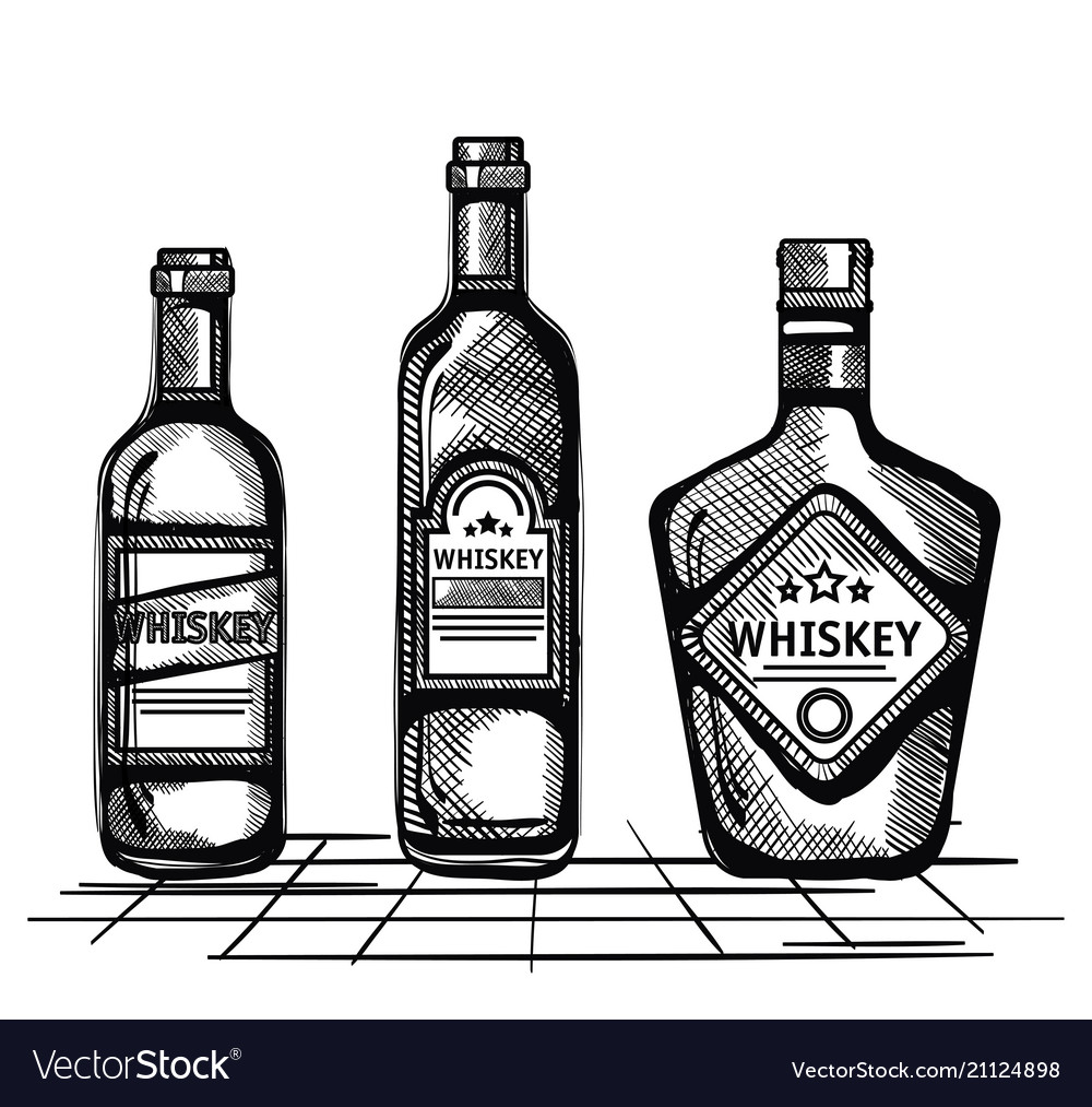 Whiskey Set Best Whiskey Set Bottles Drawn