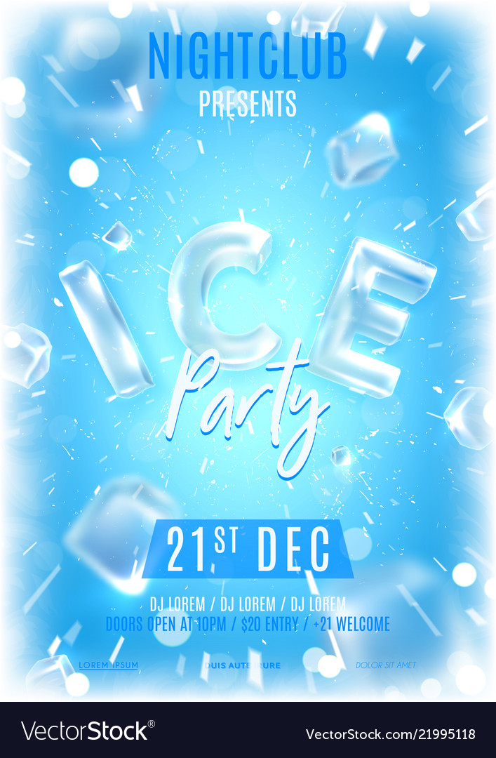 Ice party flyer template Royalty Free Vector Image