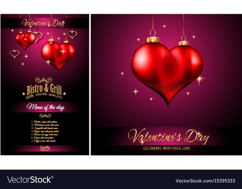 Valentines day restaurant menu template background