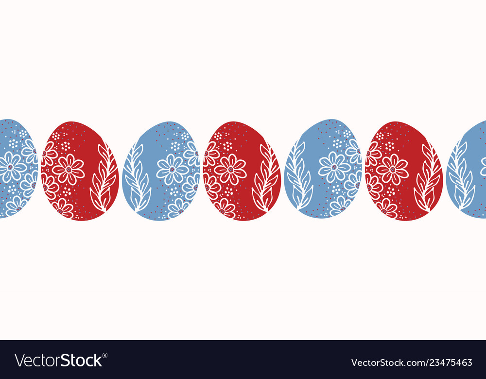 Decorated easter egg border horizontal Royalty Free Vector