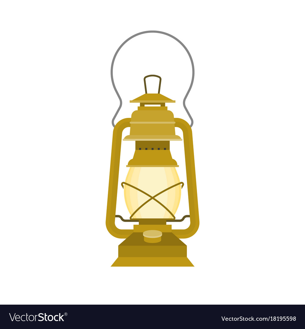 Glass Lamp Vector Vintage Kerosene Glass Lamp Flat Design