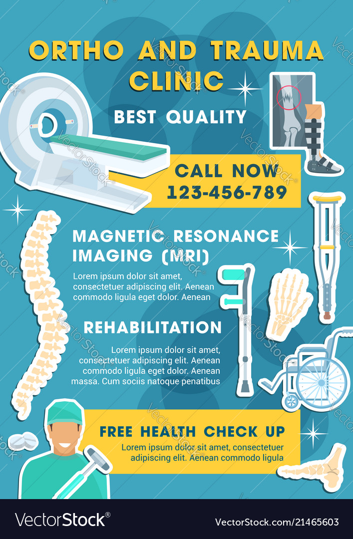 Medical poster for ortho and trauma clinic Vector Image