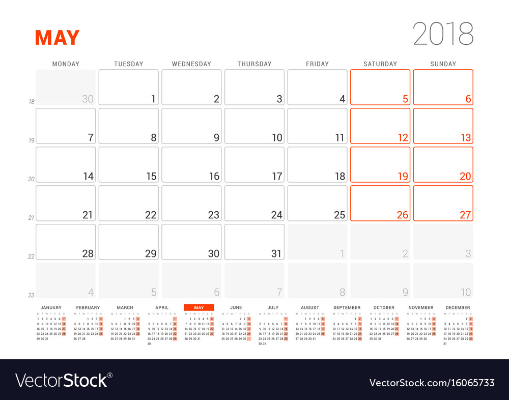 Calendar template for 2018 year may business Vector Image