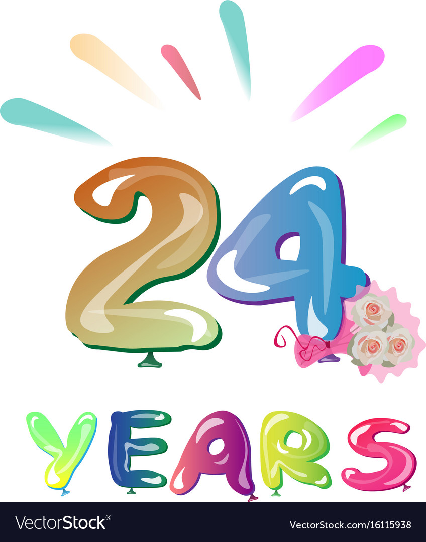 Happy Birthday Number 24 Royalty Free Vector Image
