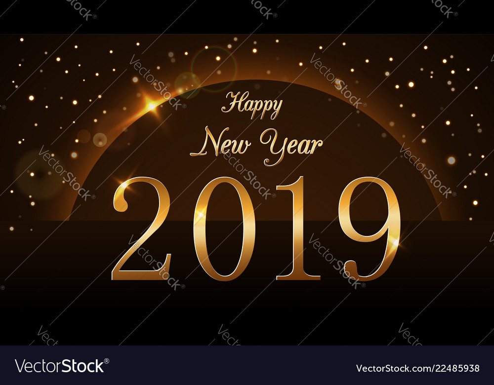 Happy new year background magic gold rain and Vector Image