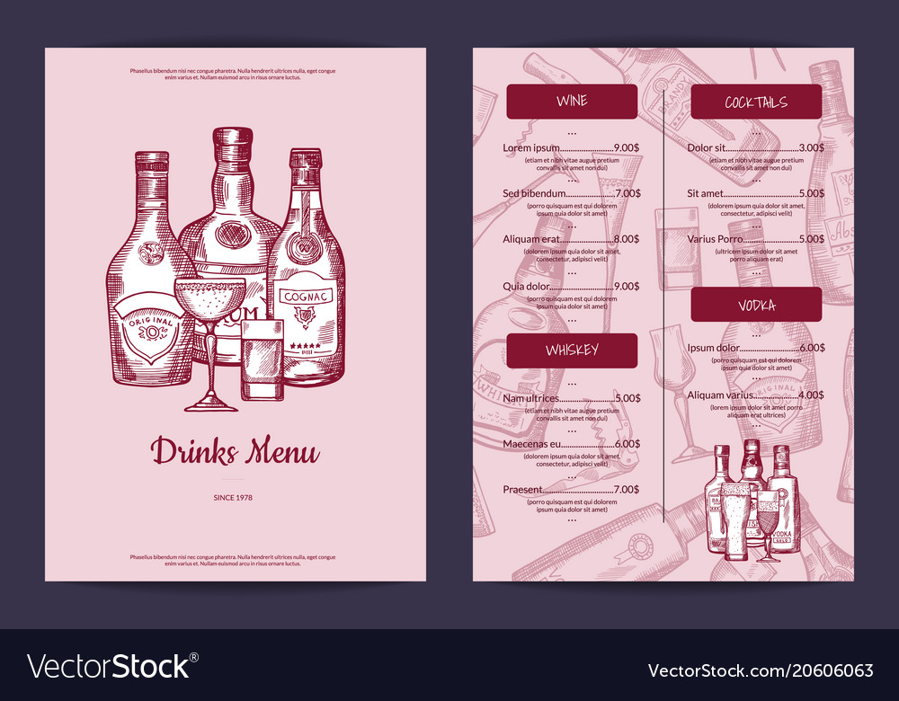 Drinks menu template for bar cafe or Royalty Free Vector