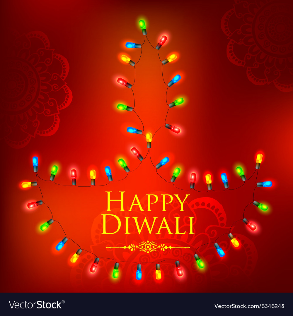 Light Decoration Diwali Happy Diwali Background Decorated With Light