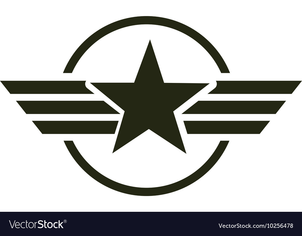 Military star emblem isolated icon Royalty Free Vector Image