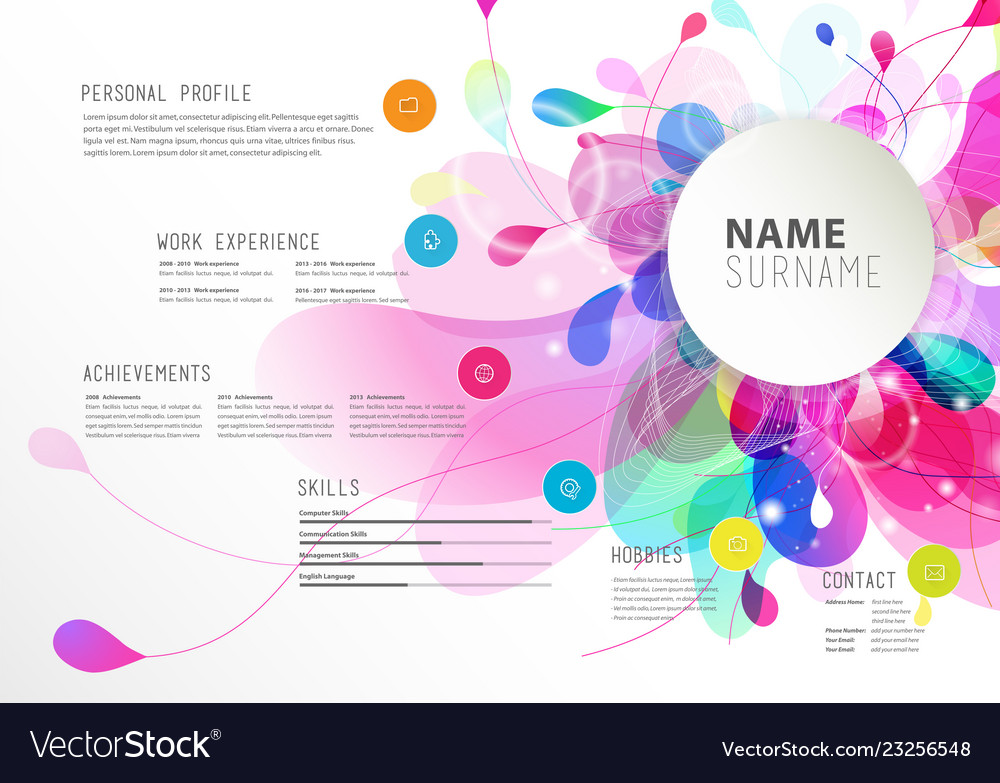 Creative simple cv template with colorful circles Vector Image