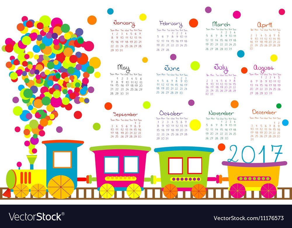 2017 calendar with cartoon train for kids Vector Image - 12 calendar