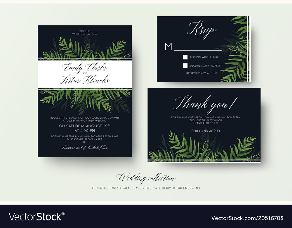 Wedding invitation rsvp thank you cards floral set